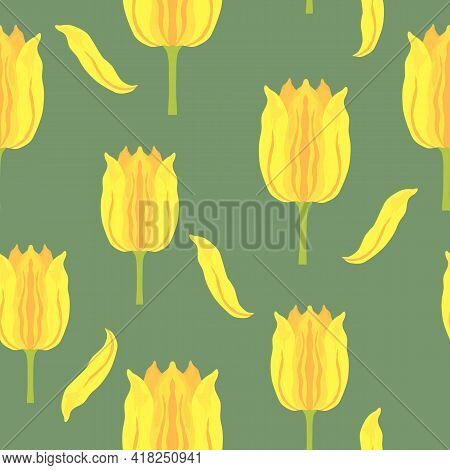 Seamless Pattern With Vibrant Yellow And Orange Varietal Tulips. Tulips Colorful Heads On The Green