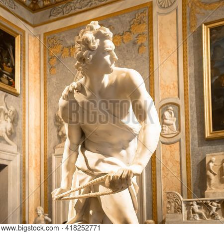 Rome, Italy - August 24, 2018: Gian Lorenzo Bernini Masterpiece, David, Dated 1624