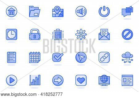 User Interface Buttons Web Flat Line Icon. Bundle Outline Pictogram Of Home, Location, Message, Cloc