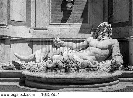 Rome, Italy - Circa August 2020: Famous Greek Sculpture Of Ocean God, Named Marforio. Classic Mythol