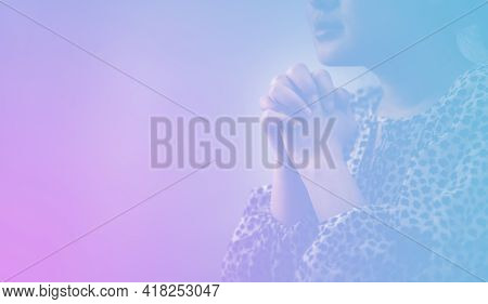 Woman's Hand Praying And Worship To God Using Hands To Pray In Religious Beliefs And Worship Christi