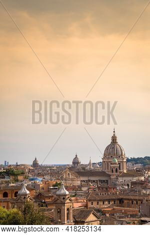 Rome, Italy- Circa August 2020: Panoramic Cityscape With Sunset Sky And Clouds