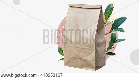 Craft Paper Bag For Takeaway. Packaging. Delivery Service Concept. Bag For Lunch. Online Order. Disp