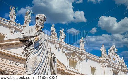 Detail Of Saint Peter Statue Located In Front Of Saint Peter Cathedral Entrance In Rome, Italy - Vat