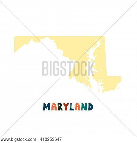 Usa Collection. Map Of Maryland - Yellow Silhouette