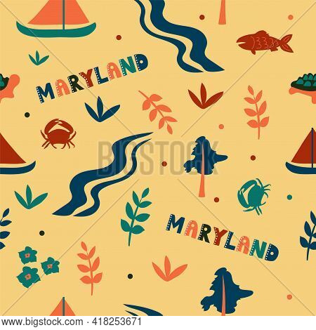 Usa Collection. Vector Illustration Of Maryland Theme. State Symbols