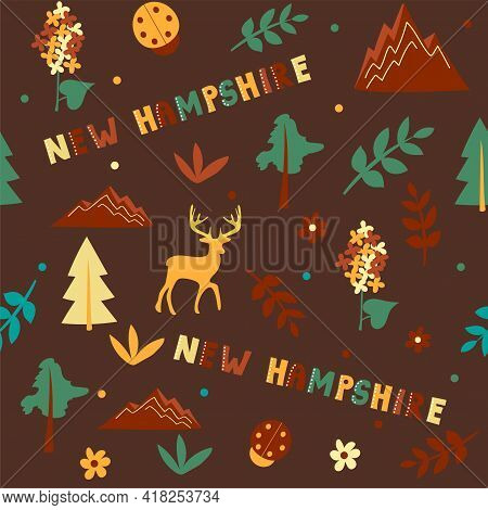 Usa Collection. Vector Illustration Of New Hampshire Theme. State Symbols