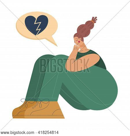 Tired Woman Sits In Depression And Frustration With Cloud With A Broken Heart. Tired Woman Is State