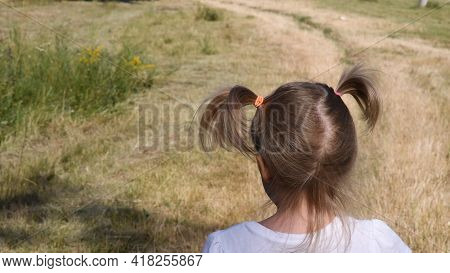 Toddler Girl Back With Rural Landscape Background. Baby Hair Tied With Colorful Rubber Bands In Two