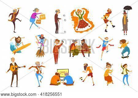 Happy Elderly People Performing Different Activities Set, Senior Men And Women Having Fun, Doing Spo