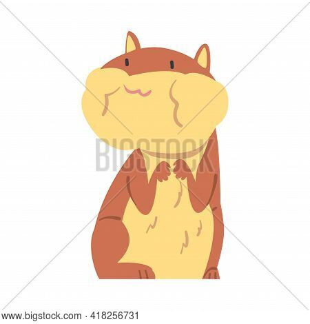 Frightened Hamster Trembling, Cute Animal Character Cartoon Vector Illustration