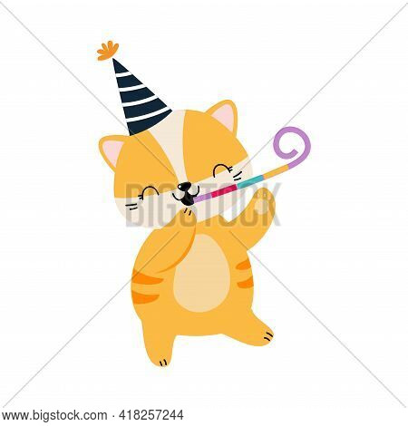 Happy Birthday Concept, Adorable Baby Animal Party Hat With Party Blower Whistle, Baby Shower Celebr