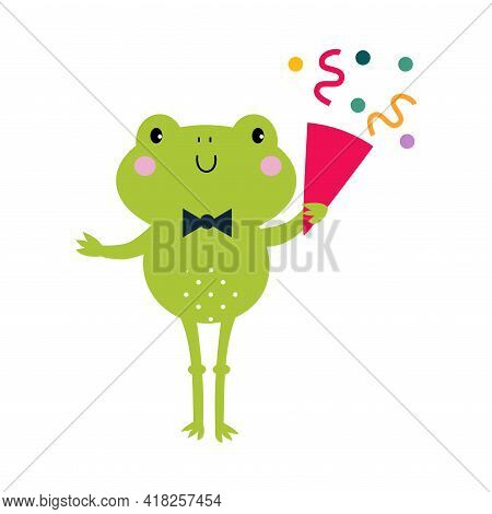 Happy Birthday Concept, Adorable Frog Baby Animal With Party Cracker, Baby Shower Celebration Elemen