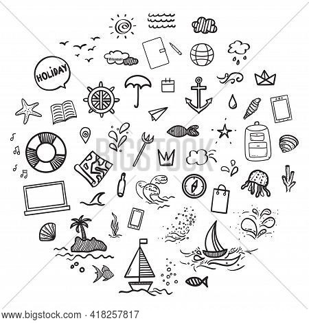 Hand Drawn Holiday Elements On Isolated Background. Summer Holidays. Signs And Symbols. Freehand Art