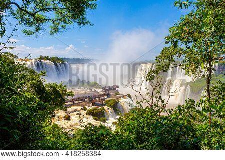 landscape of big waterfalls in Iguazu Falls, Foz do Iguacu, Parana State, South Brazil