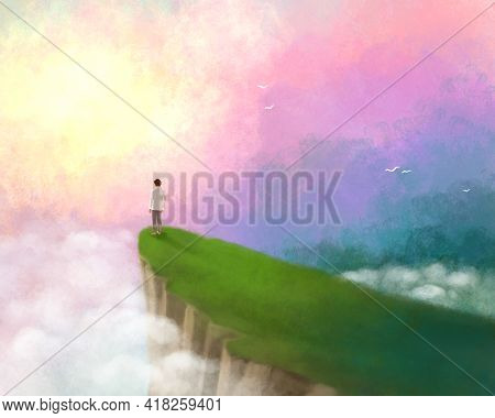 illustration of a man at the top of the rock, standing on a cliff, around the fog, dawn, many clouds. Freedom, strength, nature, independence