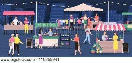 Night Market. People On Summer Outdoor Fair. Street Festival Store, Stall, Flower, Clothes And Craft
