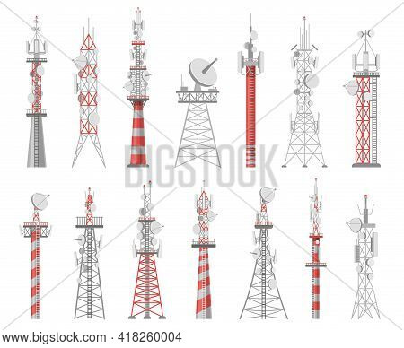 Wireless Towers. Telecommunication Network Tower. Mobile And Radio Airwave Connection Systems. Commu