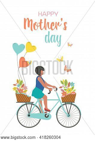Happy Girl Riding Bicycle With Flower Bouqet, Balloons Presents To Mother. Kid Daughter Cycling To D