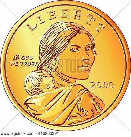American Money Sacagawea Dollar, Golden Dollar Coin, Sacagawea And Her Child On Obverse
