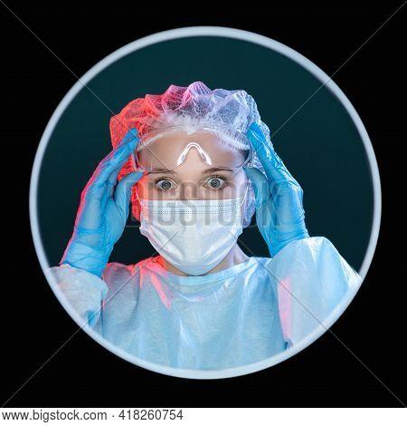 Surprised Surgeon Portrait. Healthcare Specialist. Innovative Medicine. Headshot Of Overwhelmed Impr