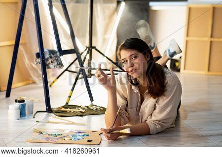 Fine Art School. Female Artist. Creative Process. Improve Skill. Inspiration Muse. Pretty Smiling Wo