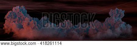 Panorama Of Cumulus Clouds At Night - Nature 3d Illustration