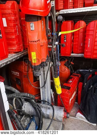 A Diamond Drilling Rig With A Motor And A Drill Of The Hilti Corporation Company For Drilling Holes