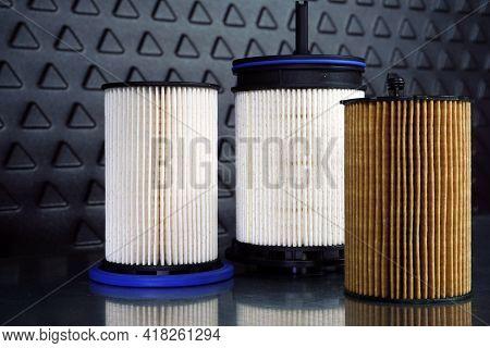New Clean Original Car Filters. Sale Of Spare Parts, Car Service, Maintenance.