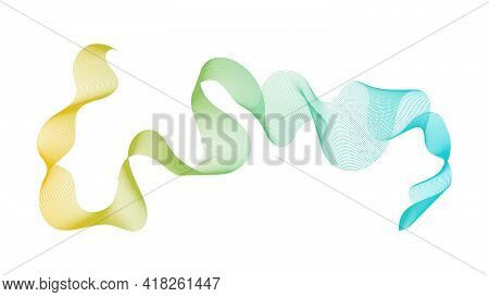 Abstract Backdrop With Yellow And Green Wave Gradient Lines On White Background. Modern Technology B