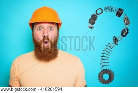 Incompetent Worker Is Unsure About His Work And Has Doubts. Cyan Background