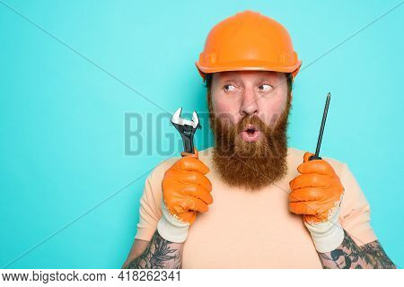 Incompetent Worker Is Unsure About His Work. Cyan Background