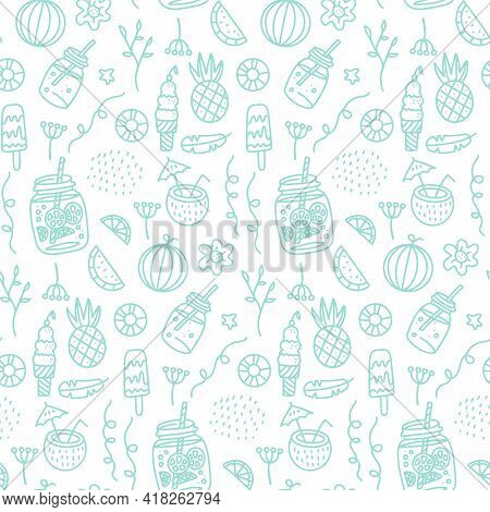 Summer Beach Seamless Pattern With Hand Drawn Elements -drinks And Fruits. Glass Of Beverage Linear