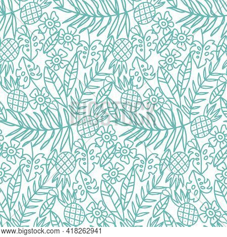 Monochrome Palm Leaves With Tropic Flowers And Palm Leaves Vintage Engraved Style Seamless Pattern.