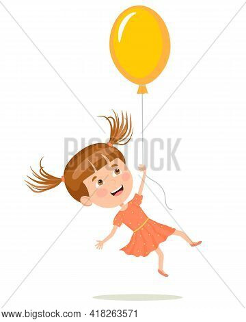 Cheerful Girl In A Summer Dress And Flies Flies Holding On To The Balloon. Illustration In A Flat St