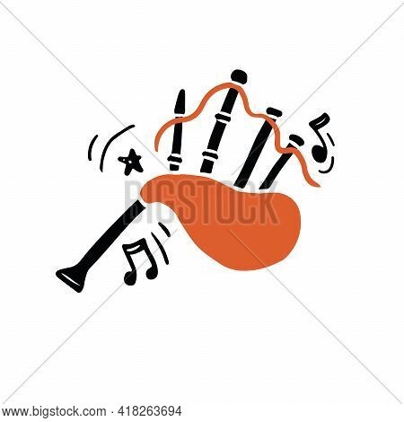 Vector Illustration Of Authentic Scottish Bagpipes Hand Drawn In Minimalist Flat Style With Black An