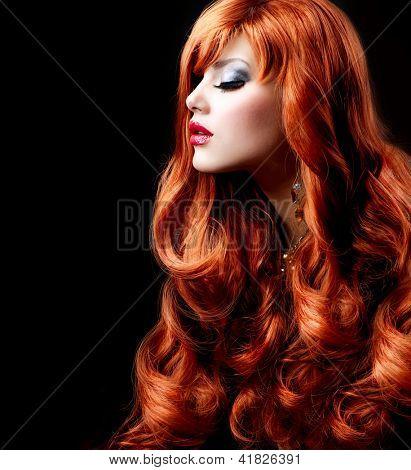 Red Hair. Fashion Girl Portrait. long Curly Hair