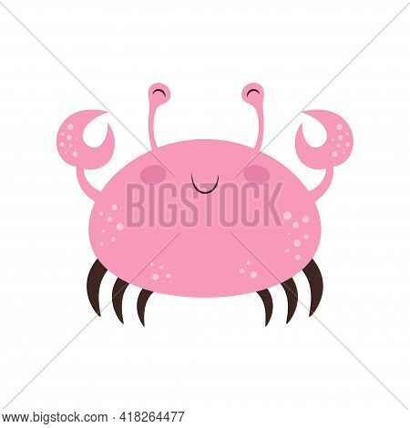 Cute Cartoon Crab Isolated On White Background, Pink Crab In Flat Style, Vector Illustration