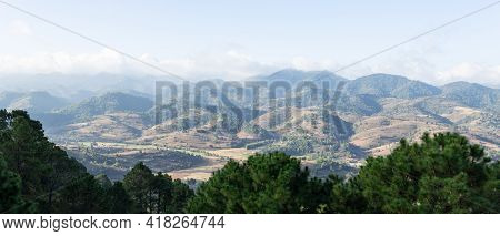 Panorama Of Rolling Hills And Farm Lands With Rice Fields In Shan State, Myanmar