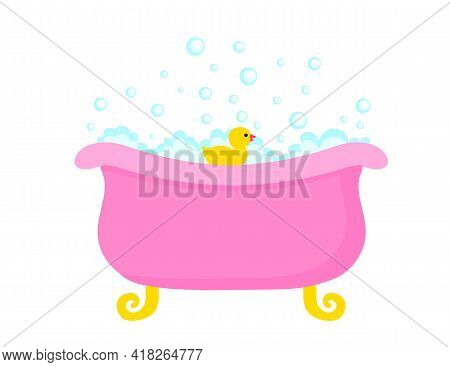 Bathtub Full Of Soap Foam Bubbles With Yellow Rubber Duck In A Cartoon Flat Style. Vector Illustrati
