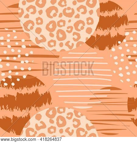 Trendy Geometric Seamless Pattern With Leopard Print And Circles. Abstract Modern Texturesfor Paper,