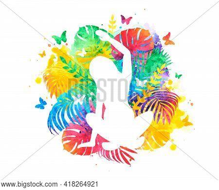 Summer Meditation, Yoga And Mindfulness. Rainbow Vector Illustration
