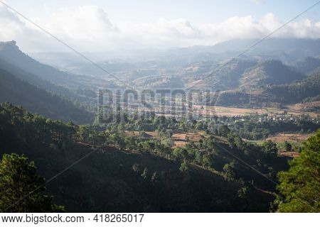 Rolling Hills And Farm Lands With Rice Fields In Shan State, Myanmar