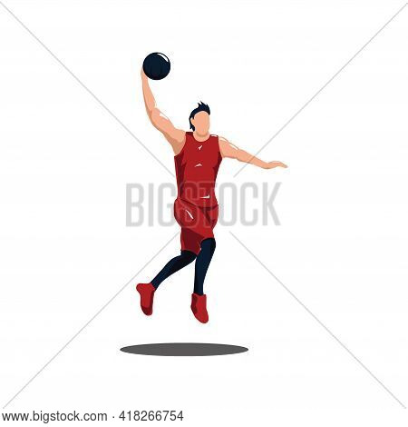 Sport Man Doing A Slam Dunk On Basket Ball Game - Illustrations Of Basket Ball Player Doing Dunk To
