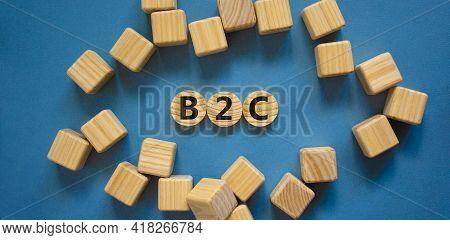 B2c, Business To Customer Symbol. Wooden Circles With Word 'b2c, Business To Customer'. Wooden Cubes