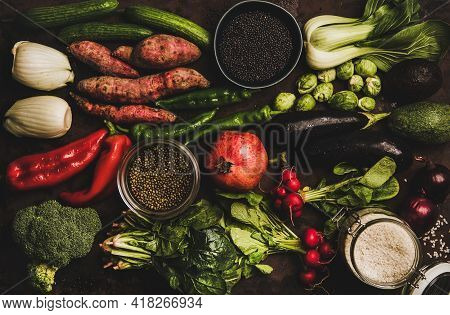 Vegetables, Grains, Greens And Fruit For Healthy Diet