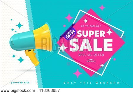 Banner Template Announcing Super Sale Mega Weekend Discount. Loud Speaker Promoting Limited Special