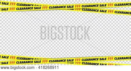 Clearance Sale Crossed Restricted Tape Border Design Element. Banner Frame With Discount Advertising