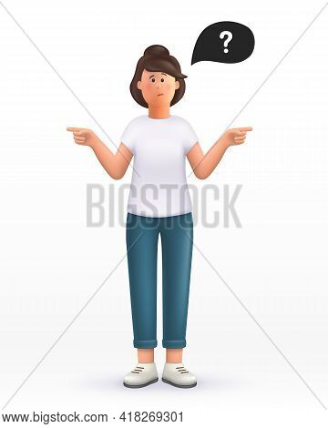 3d Cartoon Character. Young Woman Standing,  Choosing Between Two Ways, Pointing Fingers At Other Si
