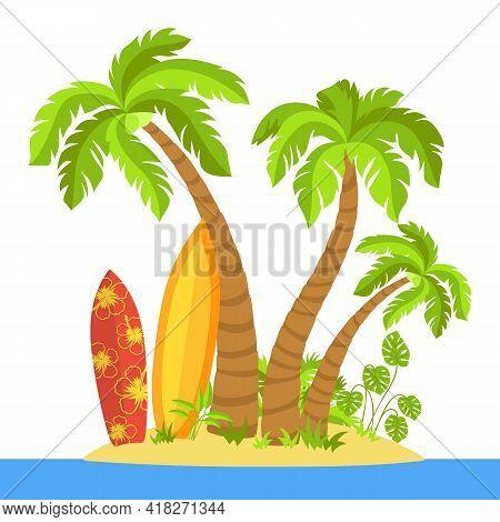 Tropical Beach Flat Cartoon Island, Surfboard. Palm Trees And Sea Sand, Ocean Landscape, Monstera, S
